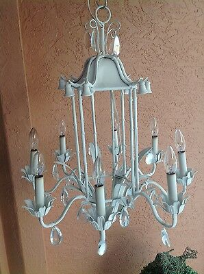 bamboo chandelier 50's Italian -White-8 light- prisms 2
