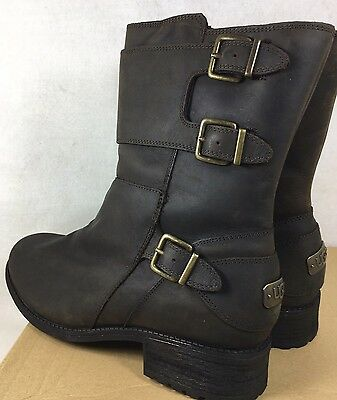 cc1f304b398 UGG WILCOX WATER Resistant Nubuck Leather Sheepskin Buckle Moto Boots  1016169