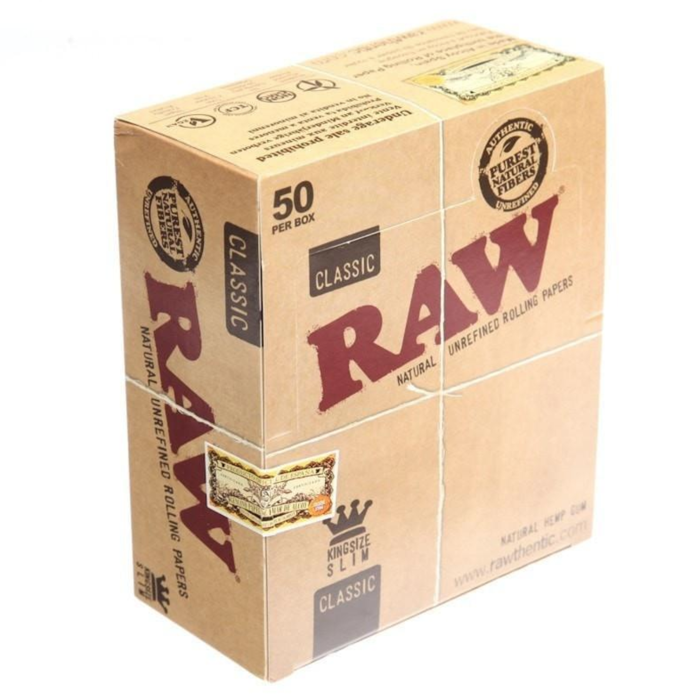 RAW King Size Slim Classic Rolling Papers - 1 Full New Box - 50 Packets Genuine 2
