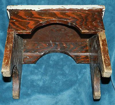 Fabulous Antique/Vintage Distressed Primitive Wood Stool!! Seafoam Green 4