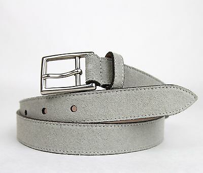 6d1607d6574 ... New Gucci Men s Light Gray Suede Leather Belt Silver Buckle 368193 1417  4