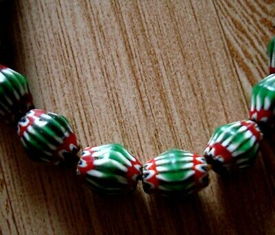 "20"" 32 Bead Antique Phoenician Green, White,Red Six Layer Chevron Glass Necklace 3"