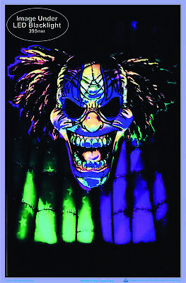"Evil Clown Face Blacklight Poster - Flocked - 23"" x 35"" 2"