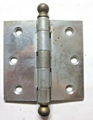 """1 Antique McKinney Square 3"""" Cabinet Mortise Hinge Ball Tips 2 Tone Nickel Brass 5"""