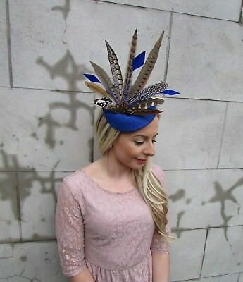 Large Royal Blue Brown Pheasant Feather Hat Fascinator Headband Races Ascot 5472 2