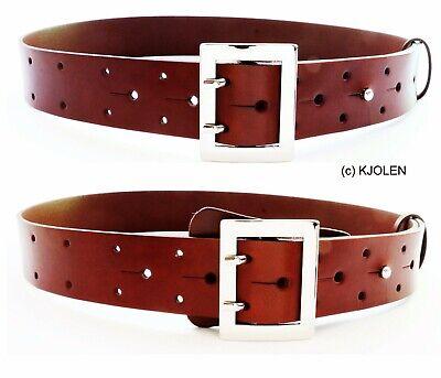 Polish Full Grain Bullhide Leather Santa Claus Pirate Military Belt Double Prong 2