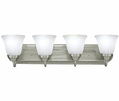 BRUSHED NICKEL FOUR Globe Bathroom Vanity Light Bar Bath Fixture ...