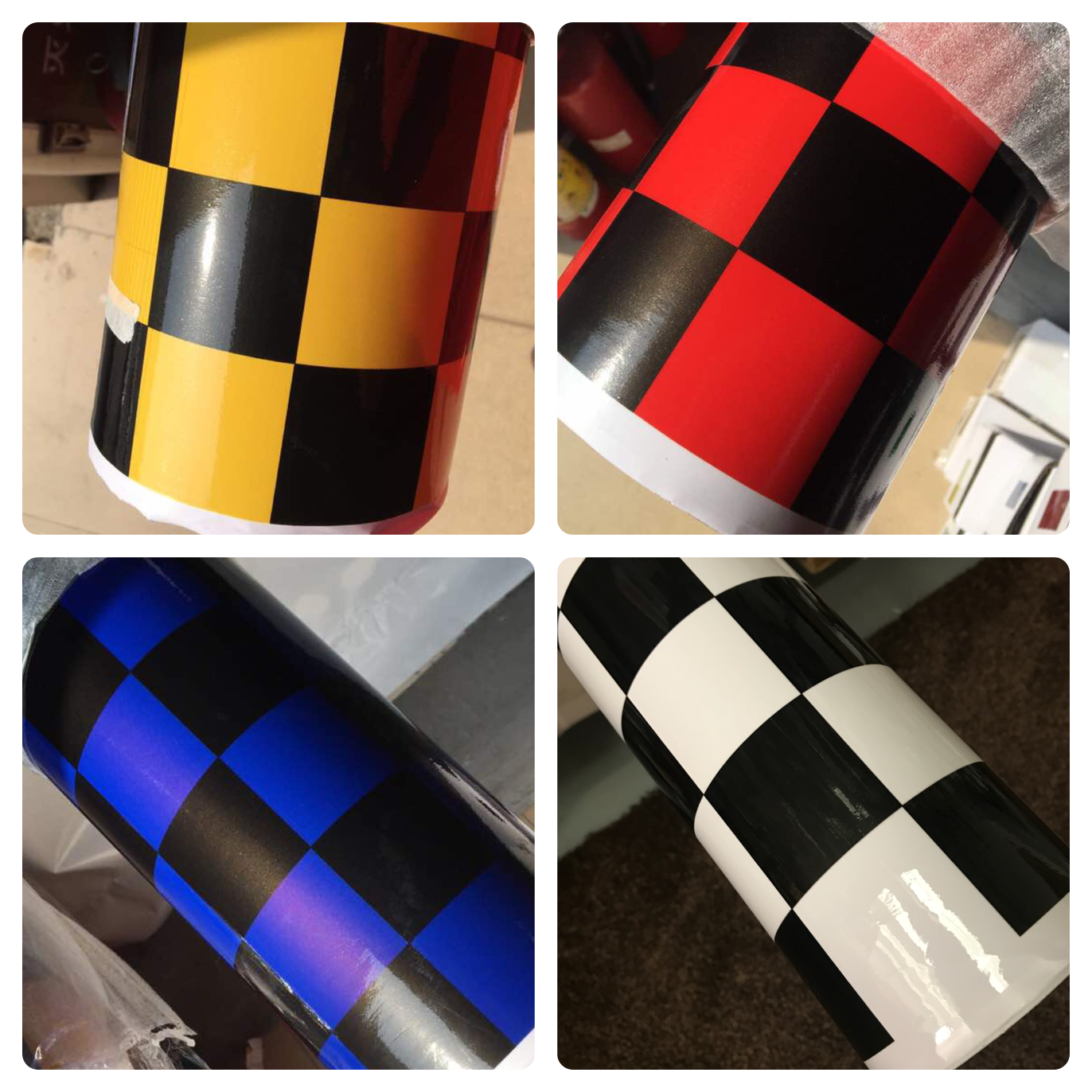 NEW CHECK CHEQUERED GLOSS VINYL CAR WRAP WRAPPING GRAPHIC sticker bomb Car Roof 5