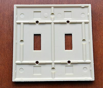 Vintage Bakelite EAGLE Ivory 2 Gang 2 Toggle Switch Plate New in Plastic/Screws 4