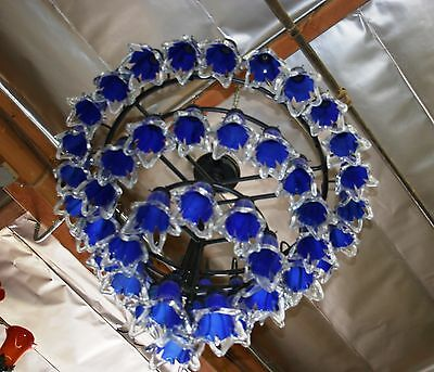 Art Deco Style 4 Level Wrought  Iron Chandelier & 54 Flowing Blown Glass Shades 4