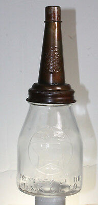 TEXACO T STAR 1 PINT MOTOR OIL BOTTLE EMBOSSED WITH METAL SPOUT /& DUST CAP Texas