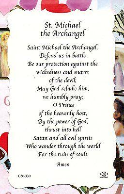 SAINT MICHAEL - St  Michael's Prayer - Scalloped trim - Paperstock Holy Card