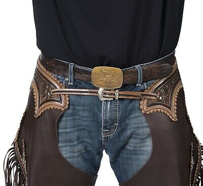 S,M,L,XL Leg Pocket Floral Tooled Yoke Smooth Leather Western Chinks Chaps
