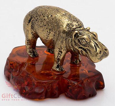 Solid Brass Amber Figurine Hippopotamus Hippo Behemoth mama with a cub IronWork