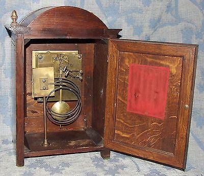 Antique Oak & Brass TING TANG Bracket Mantel Clock WINTERHALDER HOFFMEIER W & H 9