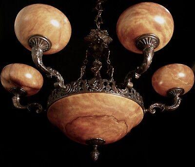 Light fixture chandelier 9 lights solid bronze real alabaster made in America 2