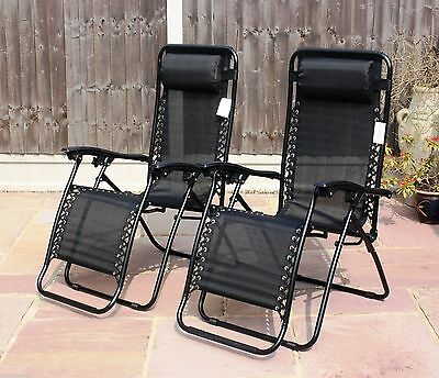 Set Of 2 Reclining Sun Loungers Gravity Folding Garden Chairs Or Spare Parts 2