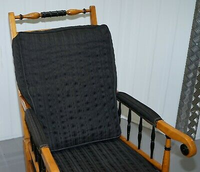 Antique Satin Birch Wood Swedish Biedermeier Library Reading Armchair Ebonished 5