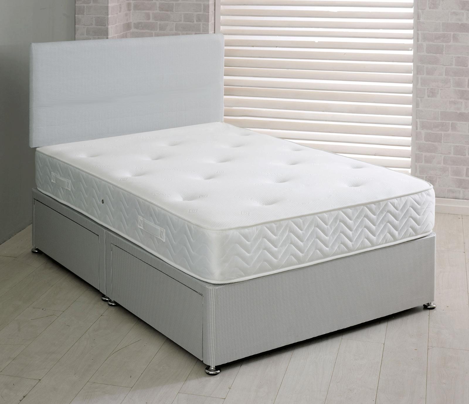 Grey Memory Foam Fabric Divan Bed With Mattress & Headboard 3FT 4FT6 Double 5FT 2
