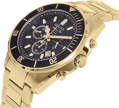 Bulova Marine Star Men's 98B250 Quartz Chronograph Black Dial Gold Tone Watch 2
