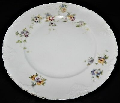 2 Herman Ohmne Silesia Germany China Dinner Plates Floral Pattern 140? Gold Trim 10