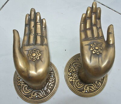 Pair large BUDDHA Pull handles hand aged heavy cast brass door old style 10 cm 4