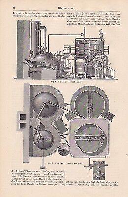 BIERBRAUEREI Sudhaus Bier Brauen STICHE + Text von 1897 Bierbrauer Malzquetsche 2