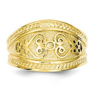 14 KT Yellow Gold Polished Byzantine Finish Etruscan Design Cigar Band Ring NEW 12