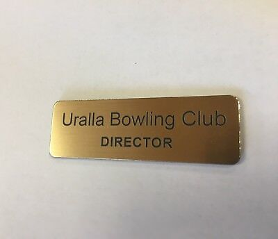 Brushed Gold Name Badge with Text and pin attached Laserable Plastic 70 x 23 mm 11