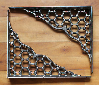 "Pair of 8""x10"" CAST IRON SHELF BRACKETS VICTORIAN HEAVY ANTIQUE PEWTER - BR18px2 2"