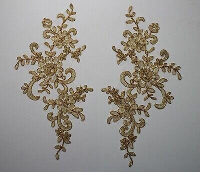 2 x  Lace Applique Wedding Motif Sew On size: 22 cm x 10 cm :#39 (9 Colours) 3