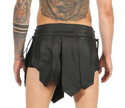 XS-XXXL* Gladiator Kilt Skirt Echt Leder Legionär Rock Schwarz Mittelalter  NEU 3