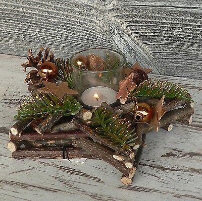 Holzkranz Mit Deko Windlicht Advent Tischdeko Weihnachten