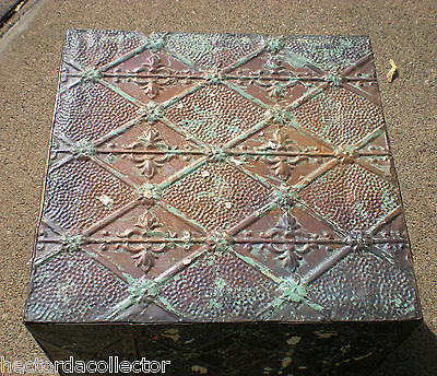WoW! Primitive Hand Tooled Antique Victorian Ceiling Tin Tile Table Cottage Chic 4