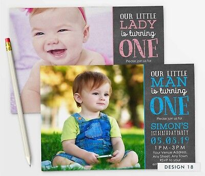 PERSONALISED 1ST BIRTHDAY Invitations First Party Invites Photo Boy