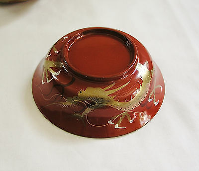 6 Vintage Asian/Japanese Red Lacquer Wood Bowls~Hand Painted Gold Dragons Design