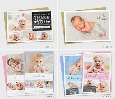 Personalised New Baby Thank You Cards Photo Birth Announcement Girl or Boy (G1) 7