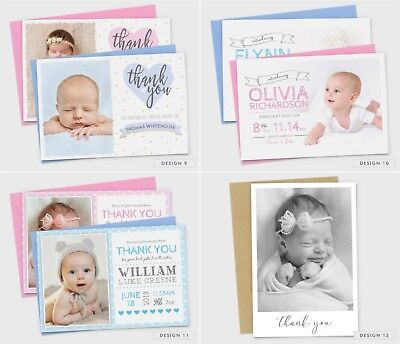 Personalised New Baby Thank You Cards Photo Birth Announcement Girl or Boy (G1) 5