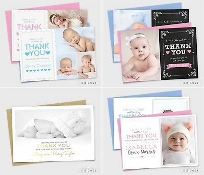 Personalised New Baby Thank You Cards Photo Birth Announcement Girl or Boy (G1) 8