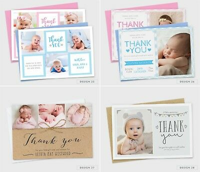 Personalised New Baby Thank You Cards Photo Birth Announcement Girl or Boy (G1) 9