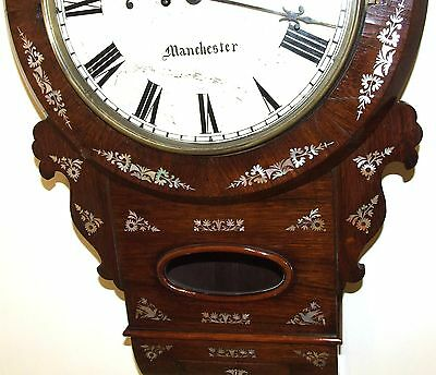 Antique ROSEWOOD & Mother of Pearl TWIN Fusee Drop Dial Clock HAMMON MANCHESTER 5