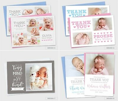 Personalised New Baby Thank You Cards Photo Birth Announcement Girl or Boy (G1) 4