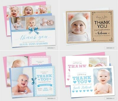 Personalised New Baby Thank You Cards Photo Birth Announcement Girl or Boy (G1) 3