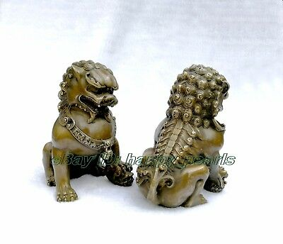 Chinese Brass Copper Animal Feng shui Foo Dog Lion town house Statue pair 14.5cm 5