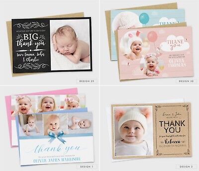 Personalised New Baby Thank You Cards Photo Birth Announcement Girl or Boy (G1) 10