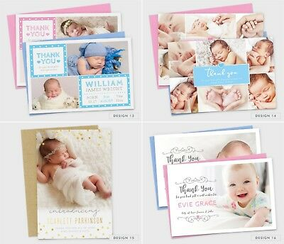 Personalised New Baby Thank You Cards Photo Birth Announcement Girl or Boy (G1) 6