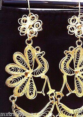 Mexican Filigree Earrings Handmade From Oaxaca Style#LG7828.Aretes de Filigrana.