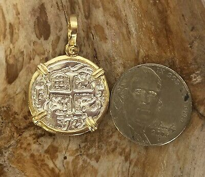 ATOCHA Coin Earrings Ladies GP over 925 Sterling  Sunken Treasure Coin Jewelry