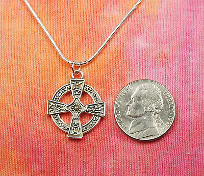 Celtic Cross Necklace, Equal Armed Square Greek Circle Charm Pendant Gift Box 2