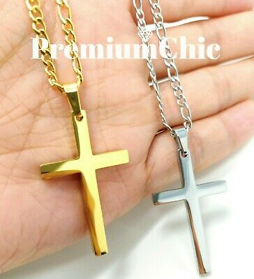 Mens Womens Stainless Steel Figaro Chain Necklace w Cross Pendant Silver Gold BK 6